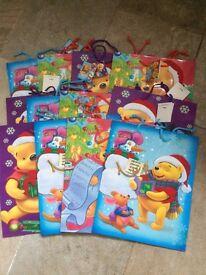 "Disney Winnie The Pooh Christmas Gift Bags x12 Eeyore & Roo designs Small 9x7"" Xmas wrapping £5 cute"