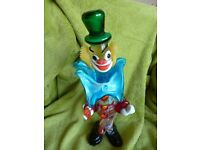 Large Marano Glass Clown with Blue Bow Tie