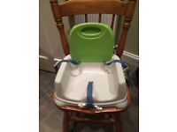 Fisher Price Booster Seat with height adjustment and tray.