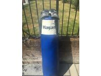 Hayashi punch bag with wall brackets and Lonsdale bag mitts