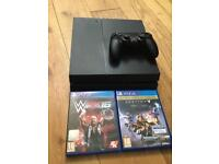 Black Playstation 4 (PS4) 500GB + 3 Games For Sale