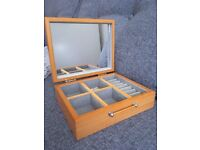 Wooden Jewellery Box with integral mirror