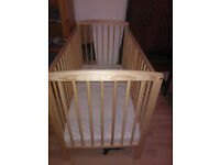 Cot Bed Kinder Valley with Mattress - excellent condition