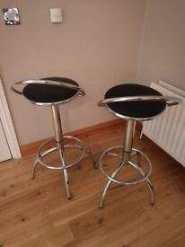 Kitchen bar stools. Chrome and black. As new