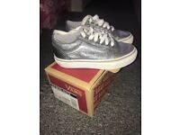 Girls silver glittery vans size 11