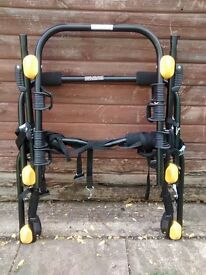 Rear mounted bike rack.