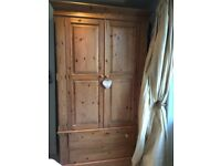 Large pine double door wardrobe with two large drawers