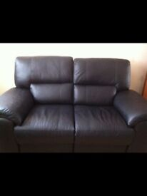 Real Leather Two Seater Electric Recliner