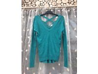Women's River Island teal green thin jumper, size 10