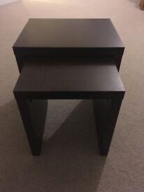 Next side table pair - dark brown wood