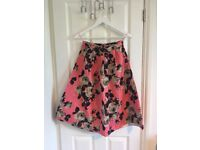 Topshop Pink Floral Midi Prom Skirt, Size 10, Perfect Condition!
