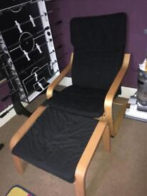 Ikea poang chair and footstool