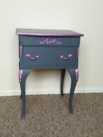 Grey and metallic ping bedside table upcycled