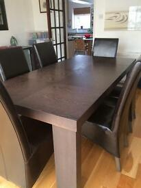 Dining Room Table with 6 leather chairs