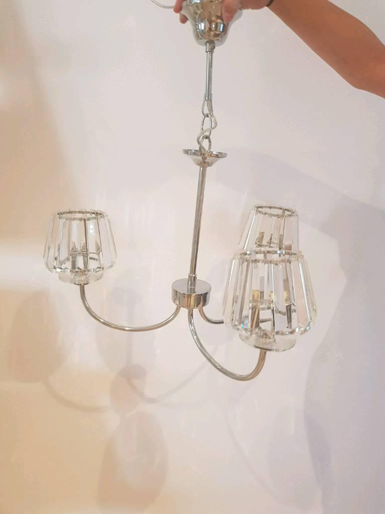 Capri 3 Light Chandelier With Glass Shades X2