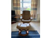 Stressless 2 seater sofa, recliner chair and footstool and srmchsir - tan leather