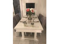 Stunning White Dining Table & 4 Chairs