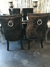 4 dining chairs crush velvet brand new