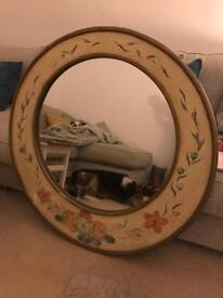 Stunning antique gilt edged hand painted mirror