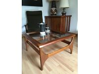 Vintage Retro Mid Century Teak and Glass Coffee Table