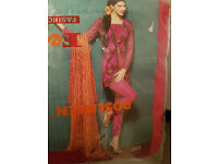 Pakistani Designer Summer Wear 4pc Georgette fully Embroidered with Chiffon Dupatta - Pink/Orange