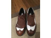 Brand new Brown & White Adidas Golf shoes, size 8