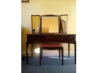 Stag minstrel - 3 drawer dressing table - with triple mirror - and matching stool