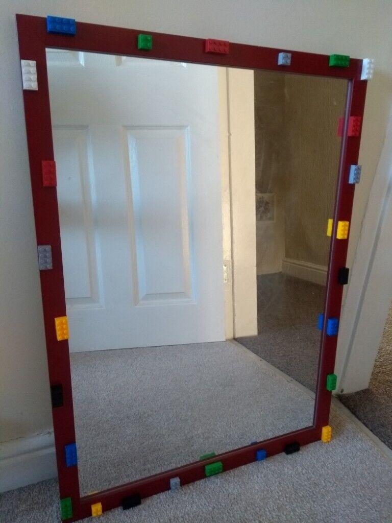 Mirror Large Children Kids Bedroom Red Lego Theme Toy Man