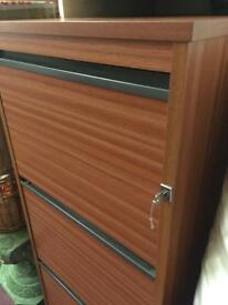 wooden three draw Filing cabinet