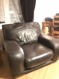 Brown Leather Chair & Sofa