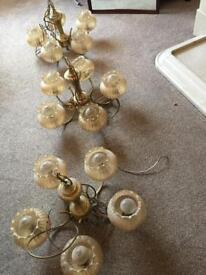 £30 3 BRASS CHANDELIERS with spare glass shades