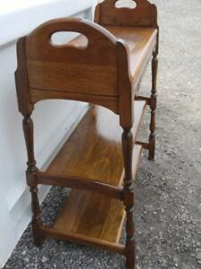 "Oakville Antique Plant Stand Vintage Wood Shelf 27x12x33""h Brown PAINTING AVAILABLE"