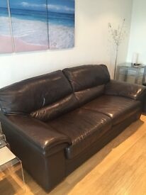 Brown leather three piece suite