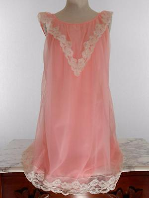 Vintage PANDORA Pink Chiffon Lace Nylon Nightgown Gown Negligee Lingerie SM