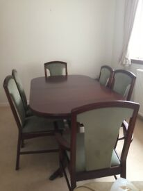 Dining table (extending) 6 chairs with green velour, McIntosh Mahogany