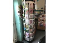 Tall Rotating Card Stand.Twist Card Stand. floor stand on wheels.72 compartments