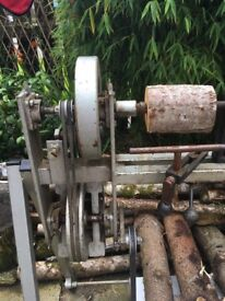 Wood Lathe. Pedal operated and New Wood turning tools