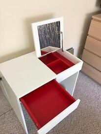 White IKEA MALM dressing table/Desk and Storage Stool. Open to offers