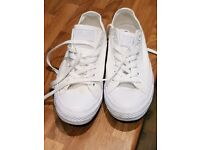 Size 7.5 White All Star Converse Plimsoles - Only 1 Week Old