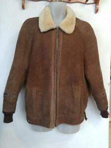 40 MENS M Aviator Bomber JACKET 100% Sheepskin Shearling Vintage Retro Brown A1+