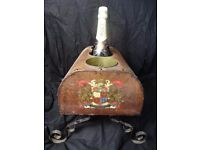 Original French Art Deco 1920's Royal Crest Leather & Iron Wine Champagne Cooler
