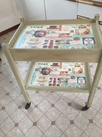 Tea trolley with pull out drawer - up cycled