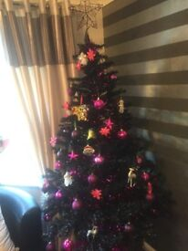 Black 6ft Christmas tree complete with various pink accessories