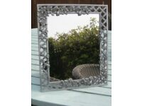 Art Noveau Style Pewter Photo/Picture Frame -Floral Framed Dressing Table Mirror