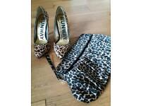 Next Runway leopard print heels with clutch bag.