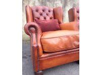 Dfs Tetrad Oskar Tan Brown Leather Chesterfield Wingback Armchair