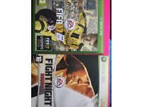 Xbox one and 360 games FIFA17 and fight night