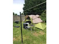 6 man pop up tent and camping table and cooking table