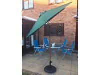 Garden Parasol Umbrella in Green Colour With Tilt and Crank - almost new