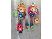 Lamaze Pram/buggy/ Mobile Clip on teething sensory Toys and pair of new teething mits